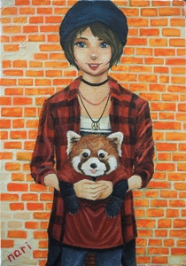 작품명:「RED PUNK」 작가명:「なり」 코멘트:「red panda × punk girl」 ART-Meter