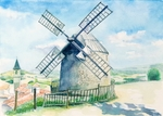 「Scenery with the windmill」