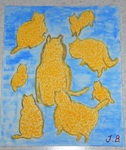 「Yellow cats causing happiness」