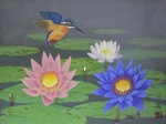 「kingfisher and tropical water lilies」