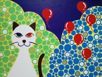「Red balloon & white cat」