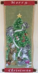 「Christmas tree tapestry of cats」
