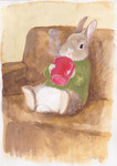 「A rabbit drinking hot drinks」