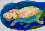 「A swimming hippo」