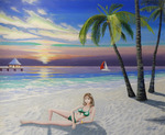 「Pretty girl on the beach (green flash)」