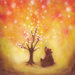 「A bear cub and blossoming tree」