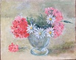 「geraniums and marguerites」