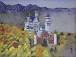 「red leaves and neushwanstein catle」