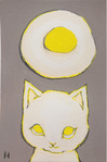 「Cat who wants to eat fried egg」