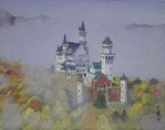 「neuschwanstein castle in fog」