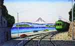 「From Shonan-Enoden and Fuji( with frame)」