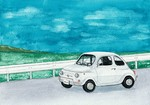 「Sea and car (Fiat 500L)」