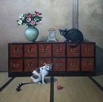 「Cats and camellia」